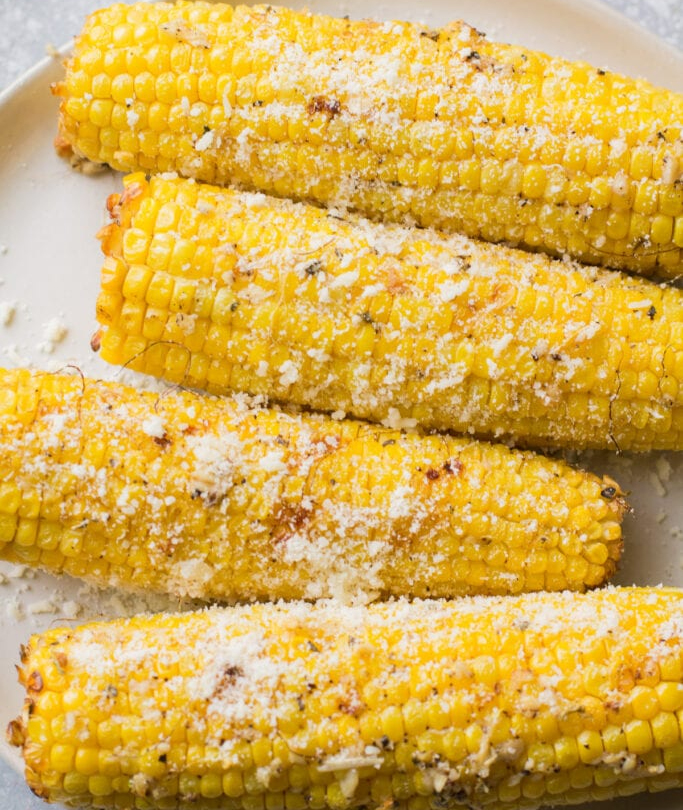 Grilled or Broiled Garlic Parmesan Corn