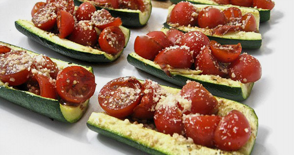 Low Carb, Gluten Free Zucchini Bruschetta
