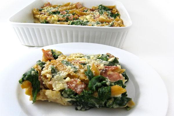 Skinny Ham, Spinach &amp, Cheese Pasta Casserole