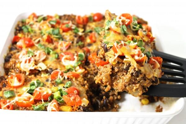 Skinny, Vegetarian Quinoa Enchilada Casserole