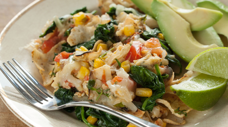 MIGAS WITH SPINACH AND CORN