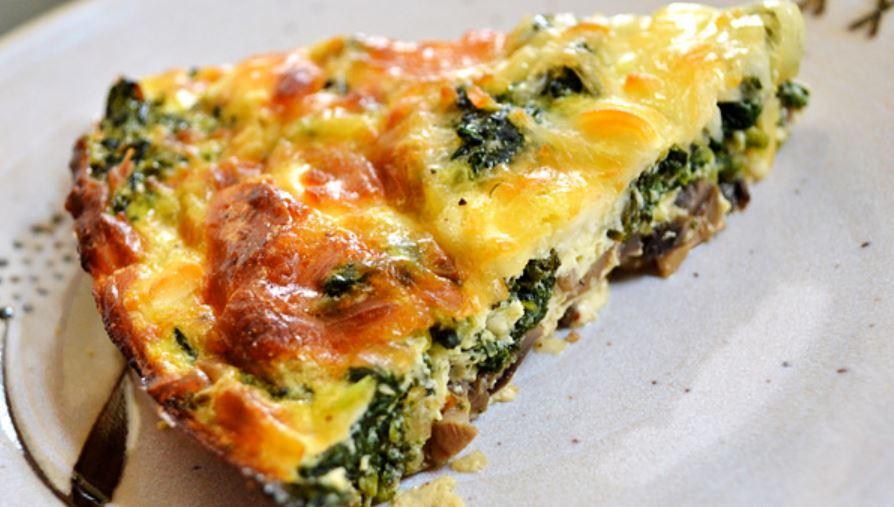 Crustless Spinach, Onion and Feta Quiche