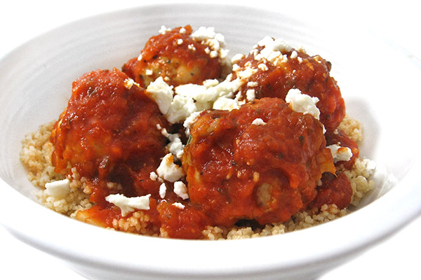 Skinny Greek-Style Meatballs over Whole Wheat Couscous