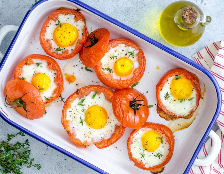 Low Carb, Baked Eggs and Tomato Topping