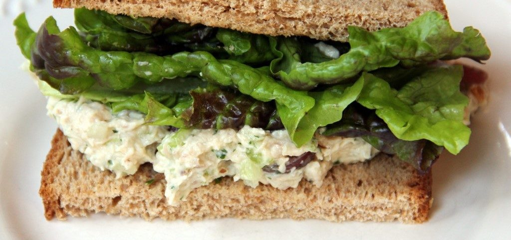 Chicken Salad Sandwich with Bok Choy, Red Grapes and Walnuts