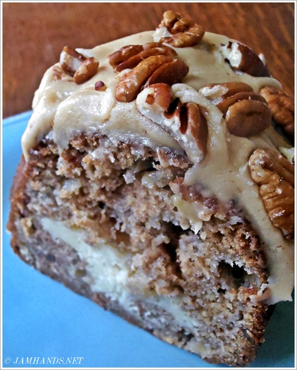 Apple Cream Cheese Bundt Cake With Caramel Pecan Frosting